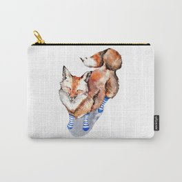 Smiling Red Fox in Blue Socks Carry-All Pouch