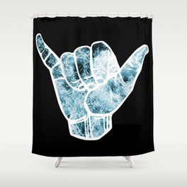 Turquoise Ocean Waves Hang Loose Shower Curtain