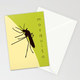 Biting mosquito print, insect silhouette illustration Stationery Cards