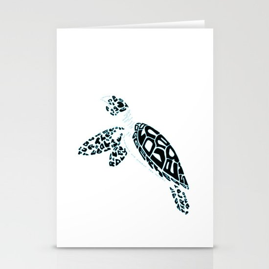 Calligram Sea Turtle Stationery Cards