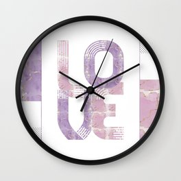 Graphic Art Gold LOVE | rose and violet Wall Clock