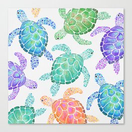 Sea Turtle - Colour Canvas Print
