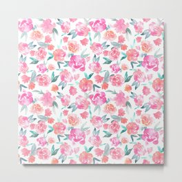 Watercolor Floral - pink/orange Metal Print