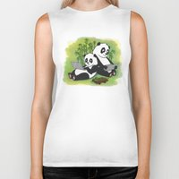pandas Biker Tanks featuring Pandas by Lisidza's art