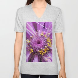 Soft Lilac Zinnia Flower Close-up #1 #decor #art #society6 Unisex V-Neck