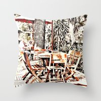 outdoor Throw Pillows featuring Outdoor Lunch by Losal Jsk