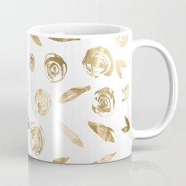 Gold Roses Rosette Pattern Golden on White Coffee Mug