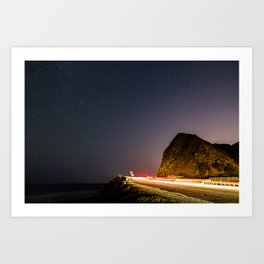 Night Landscape of a road next to a beach at Point Magu, CA. Art Print