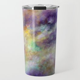 Colorful sky, Clouds, Abstract, Original painting, Acrylic, Violet, blue, Yellow, white, pink Travel Mug
