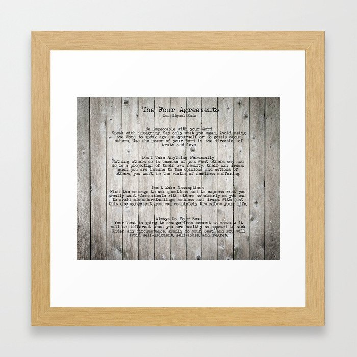 The Four Agreements Framed Art Print By Andreaanderegg Society6