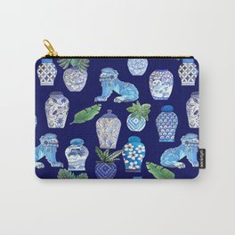 Maximalist Décor, vintage vase ,Chinese Ginger Jars and Foo Dogs, Chinoiserie, Hampton's Style Carry-All Pouch