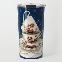 Vintage Rose Tea Cups Travel Mug