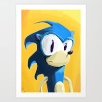 sonic Art Prints featuring Sonic by tonguestubble
