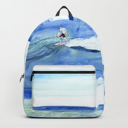 """Surfing"" Watercolor on yupo paper Backpack"