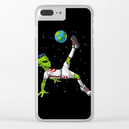 Space Alien Soccer Player Clear iPhone Case