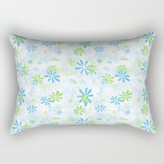 Blue and Green Floral Pattern Rectangular Pillow