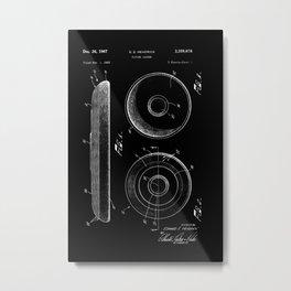 Frisbee: Edward E. Headrick Frisbee (Flying Saucer) Patent - White on Black Metal Print