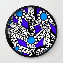 Doodle Art Flower - Pathways - Purple Blue Wall Clock