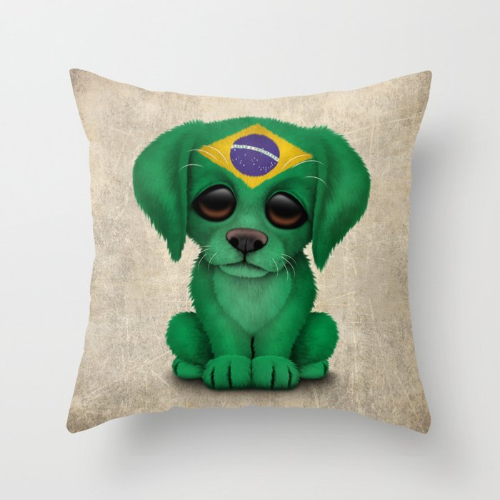 Cute Puppy Dog with flag of Brazil Throw Pillow