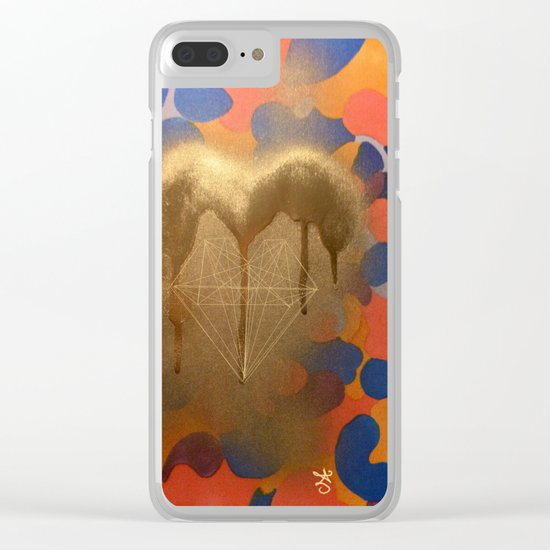 Golden Heart Collage - Spray Paint on Marker Clear iPhone Case