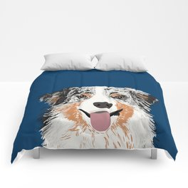 Australian Shepherd blue merle cute pet portrait dog person must have gifts for aussie owner  Comforters