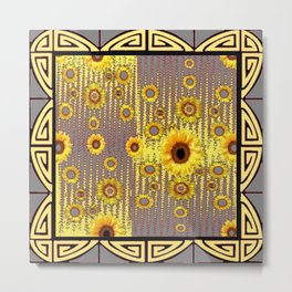 MODERN  ART DECO GOLDEN SUNFLOWERS  GREY-BLACK Metal Print