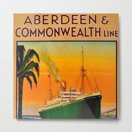 Vintage Aberdeen & Commonwealth Line Travel Poster England to Australia Metal Print