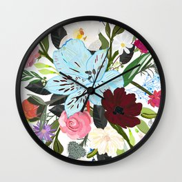 Alstroemerias, Fucisia, Roses, Vanilla, Cosmos Flower. Floral Colorful Bouquet Pattern Wall Clock