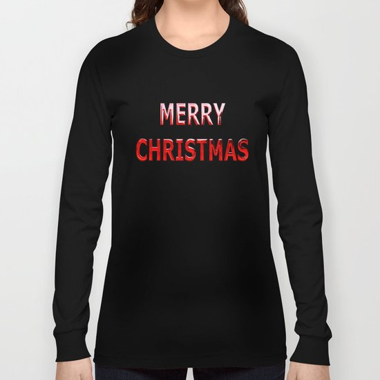 Merry Christmas Message in Red Chrome Long Sleeve T-shirt