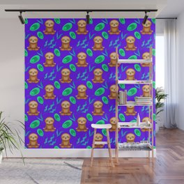 Funny cute happy meditating sloths, tropical rainforest exotic green and blue leaves purple pattern Wall Mural