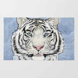 White Tiger in blue A024 Rug