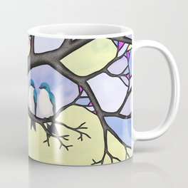 tree swallows in the stained glass tree Coffee Mug