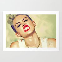miley cyrus Art Prints featuring Miley Cyrus by Nicolaine