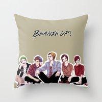 """band Throw Pillows featuring """" Beanie Band """" by Karu Kara"""