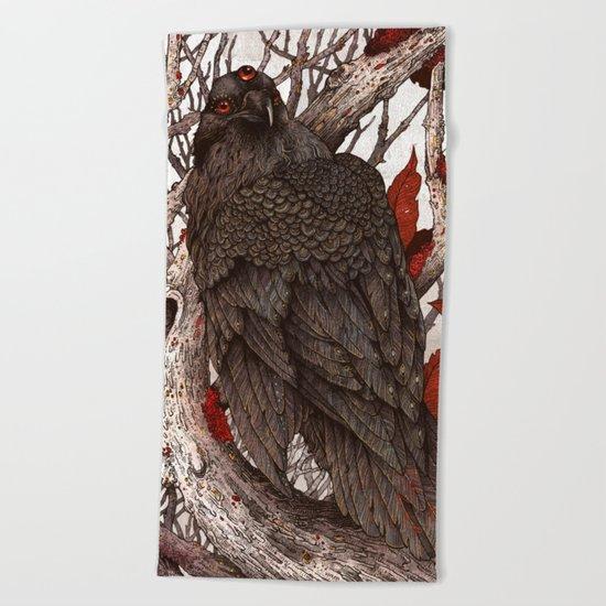A Raven In Winter Beach Towel