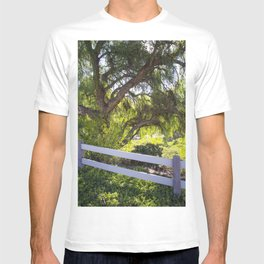 A Tree Next To A White Fence T-shirt