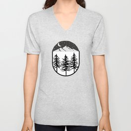 Black Starry Night Black Trees Mightnight Unisex V-Neck