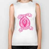 vagina Biker Tanks featuring Love your vagina! by Kittymacdraws