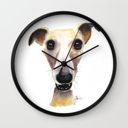 Nosey Dog Whippet Greyhound ' HOLLYWOLLY ' by Shirley MacArthur Wall Clock