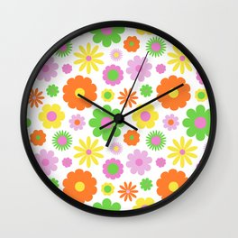 Vintage Daisy Crazy Floral Wall Clock