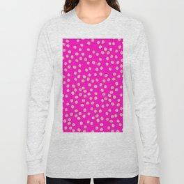 Modern rose gold glitter polka dots neon pink attern Long Sleeve T-shirt