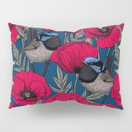 Fairy wren and poppies Pillow Sham
