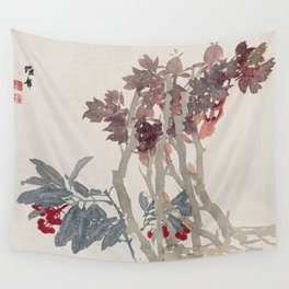 Vintage Chinese Ink and Brush Painting and Calligraphy Wall Tapestry