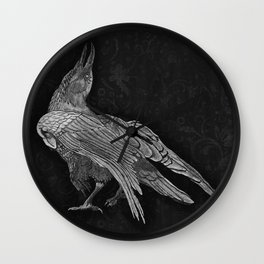 The Raven: Charcoal Background Wall Clock