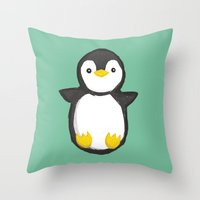 penguin Throw Pillows featuring penguin by Julie Zhang