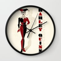 harley quinn Wall Clocks featuring Harley Quinn by Lily's Factory