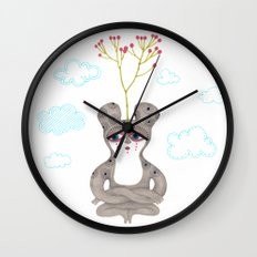 lonely cute creature with rose bush Wall Clock