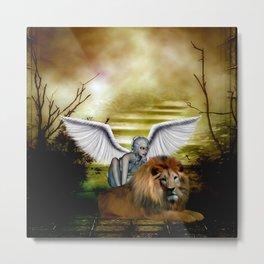 Beautiful fairy with lion Metal Print