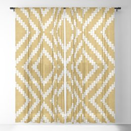 Loom in Gold Sheer Curtain
