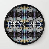psycho Wall Clocks featuring psycho  by kikkerART
